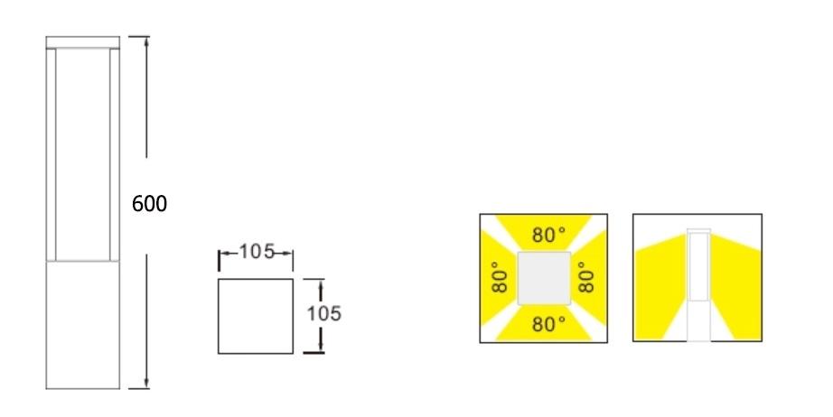 ขนาด-โคมไฟสนาม-Bollard light DALLTON-M-LED-10W