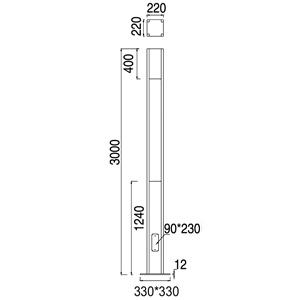 Drawing โคมไฟเสาสูง ZINO-S LED 25W
