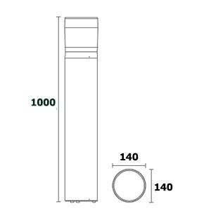 ขนาดโคมไฟเสาสนาม bollard light-DEEGAN-ขั้วe27