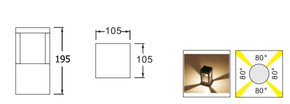 ขนาด-โคมไฟสนาม-DALLTON-S LED 6W