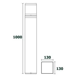 ขนาด-โคมไฟเสาสนาม bollard light-DELTA-ขั้วe27