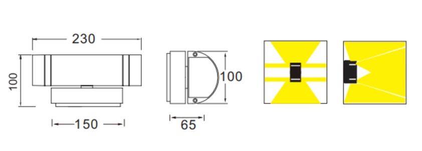 ขนาดโคมไฟติดผนัง outdoor wall light FENIX-2 GU10