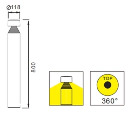ขนาดโคมไฟ Bollard light DILAN LED 10W