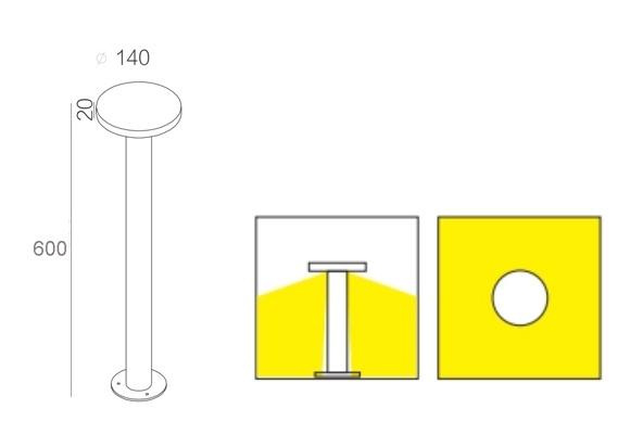ขนาดโคมไฟ-Outdoor-bollard-LED-7W