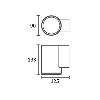 ขนาดโคมไฟติดผนัง-outdoor ALYN-R1 GU10